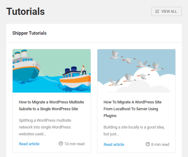 Access tutorials directly from Shipper