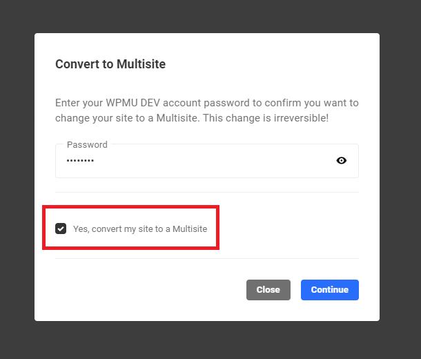 Convert to multisite account password screen