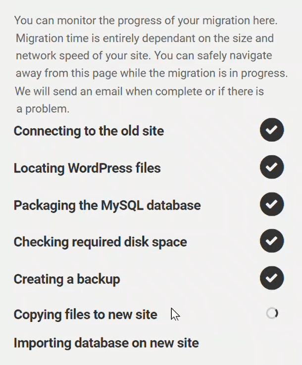 Site migration underway screen