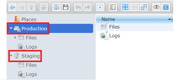 Production and Staging server location in File Manager