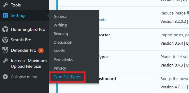 Locating the WPEFT plugin menu