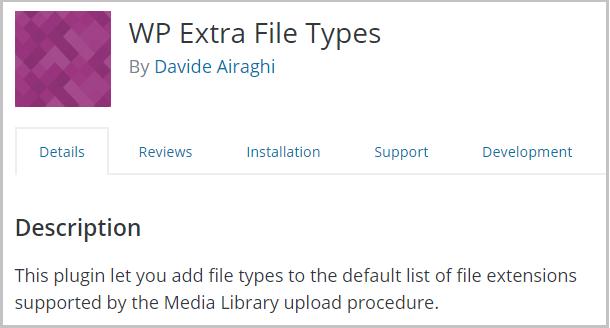 WP Extra File Types plugin