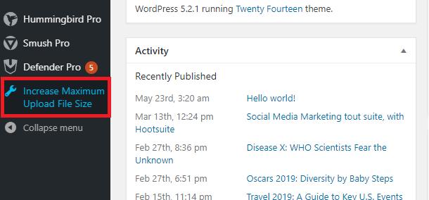 WPIFS in the Admin menu