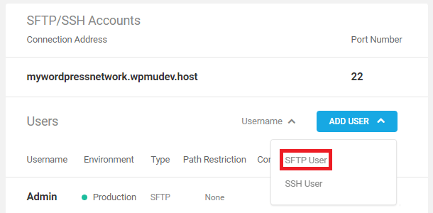 Add SFTP user in the Hub hosting overview