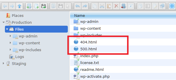 Upload location for custom error page files