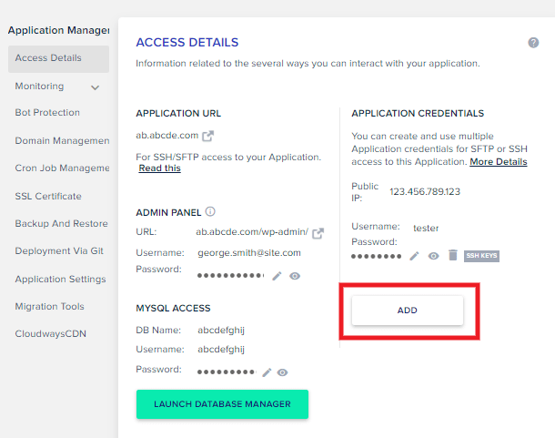 Creating a new FTP account at Cloudways