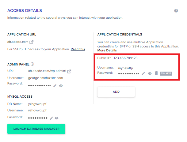 New FTP account created at Cloudways