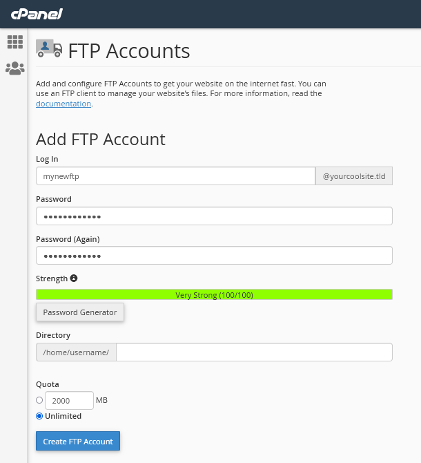 Creating a new FTP account in cPanel