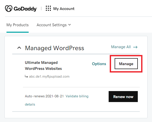 Accessing FTP accounts at GoDaddy