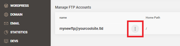 Accessing FTP account options at Siteground