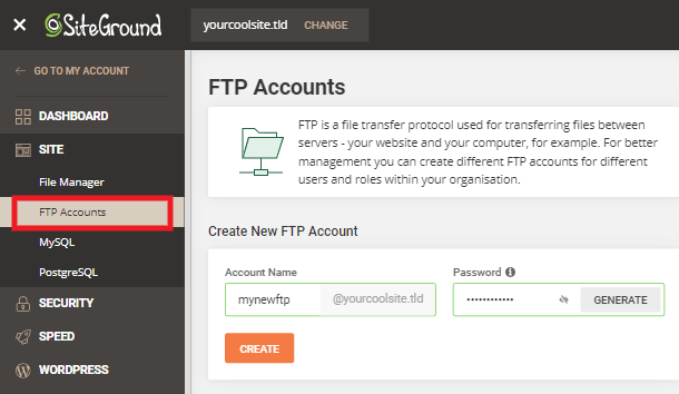 Creating a new FTP account at Siteground