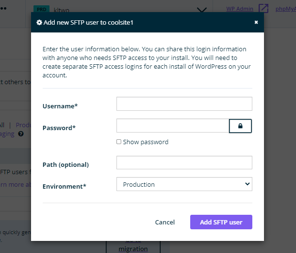 Creating a new FTP account at WP Engine