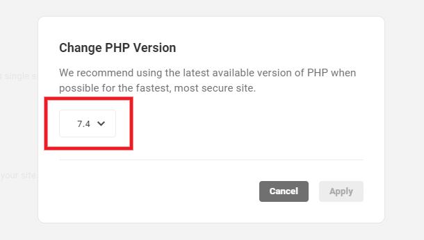 Choose new PHP version from menu