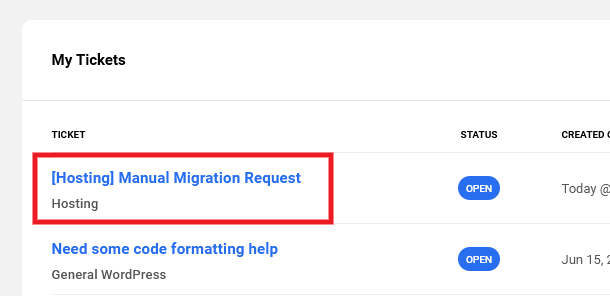 Manual migration request ticket in the Hub
