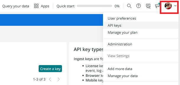 Get API Keys in New Relic account