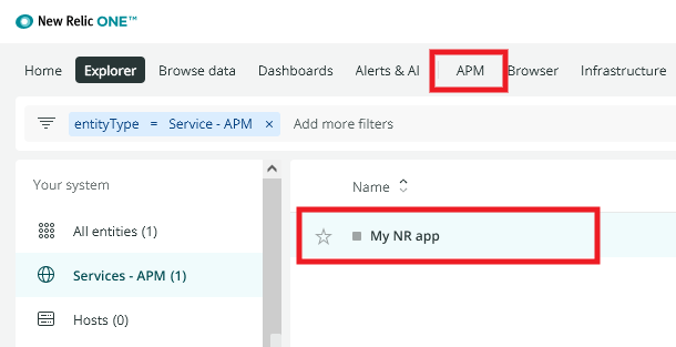 View app in New Relic account