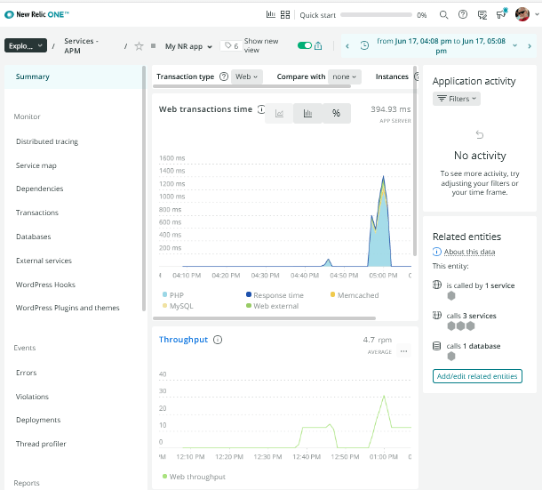 View app data in New Relic account