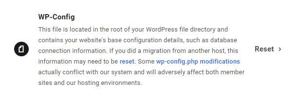 Reset wp-config for a WPMU DEV hosted site