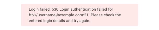 """Login authentication failed"" error"