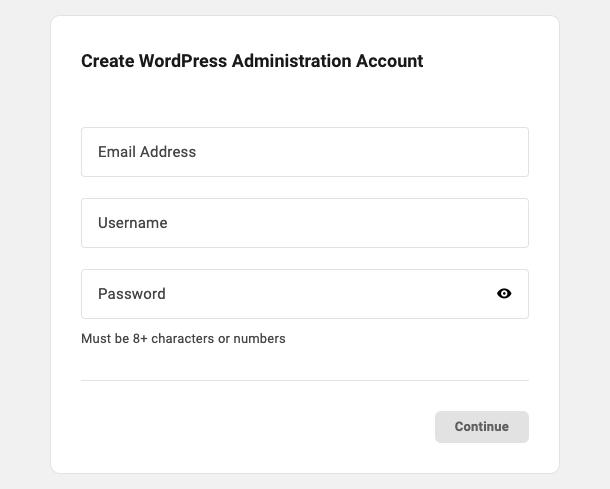 Create WordPress Administrator account