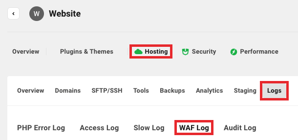Access the WAF log