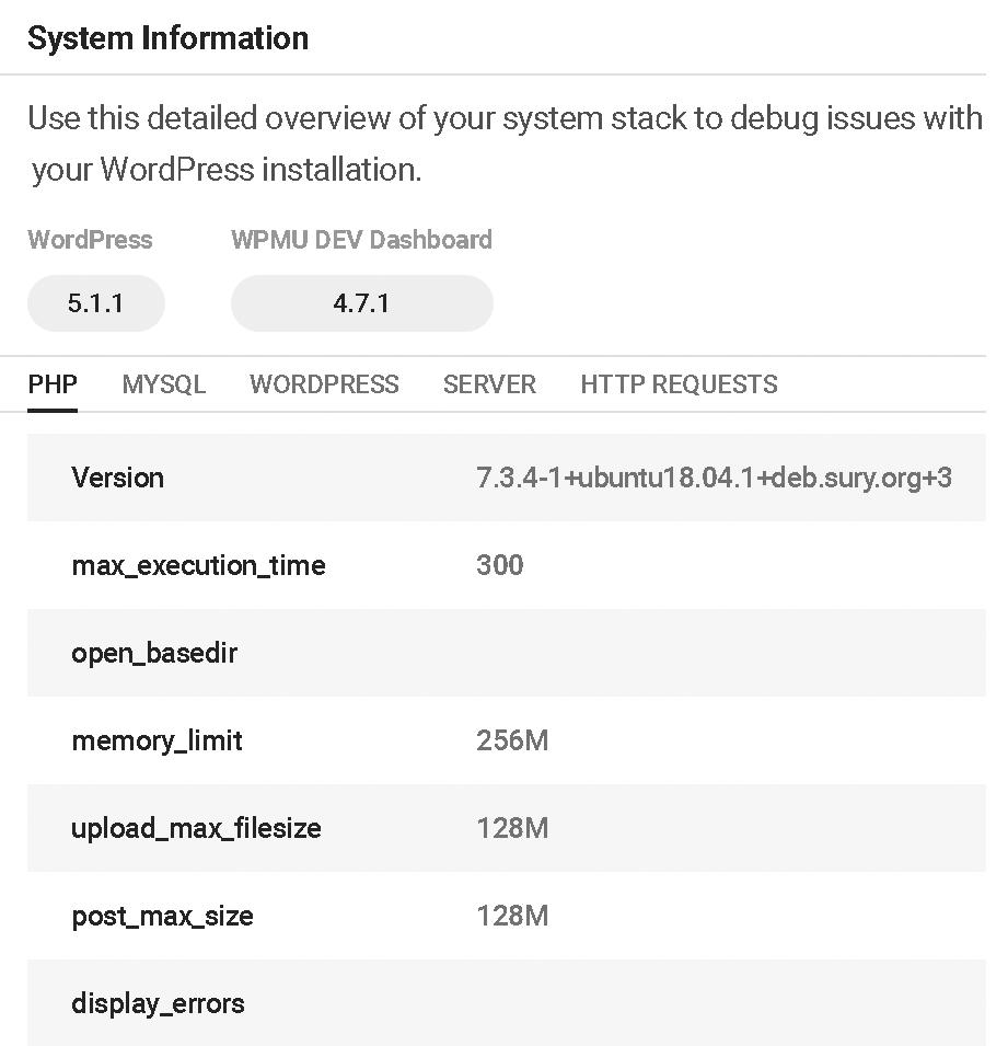 Dashboard System Info