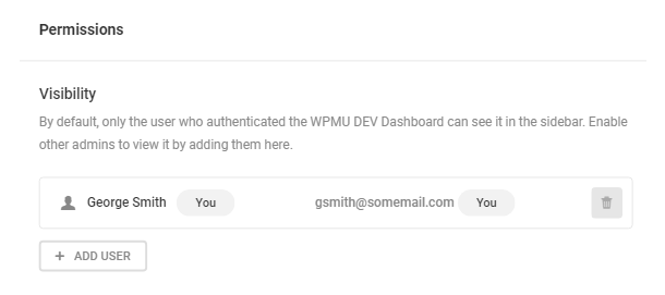 WPMU DEV Dashboard permissions settings