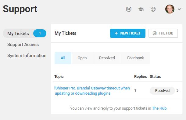 Dashboard support tab