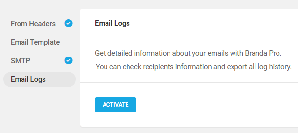 activate email logs