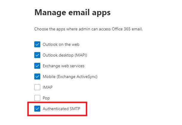 Enable SMTP AUTH for specific mailboxes in Office365