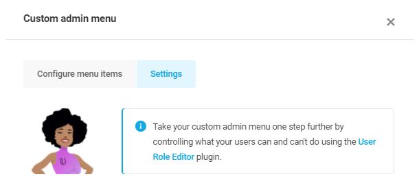 custom admin menu settings