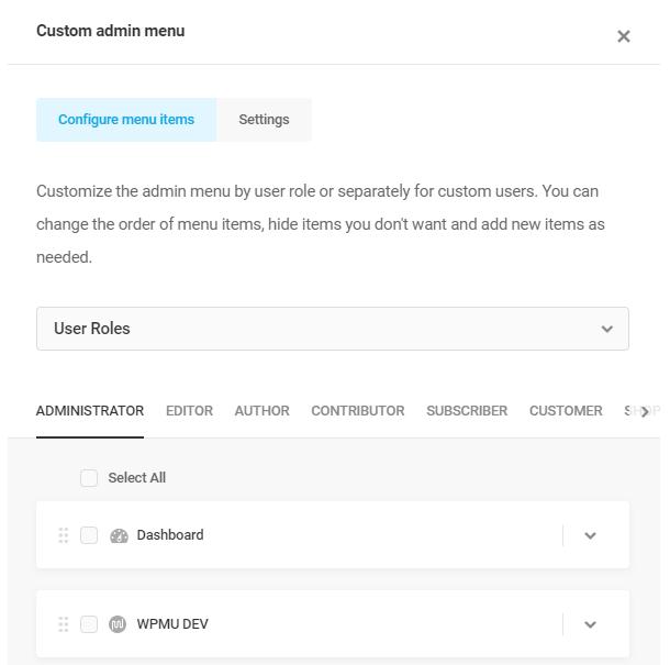 custom admin menu user roles