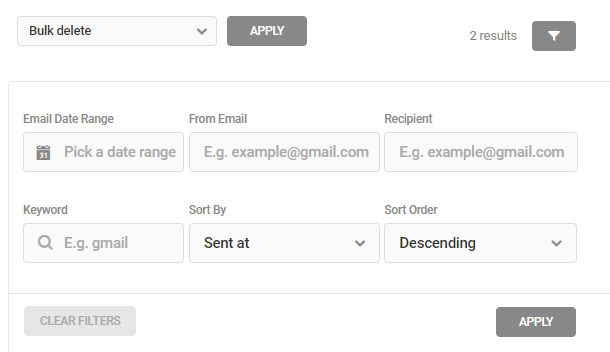 filter email logs