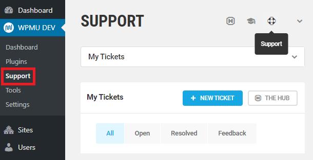 WPMU DEV Support tab