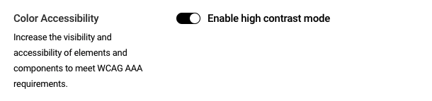 Toggle on Enable high contrast mode and click Update Settings to activate this mode.
