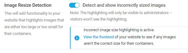 enable image resize detection