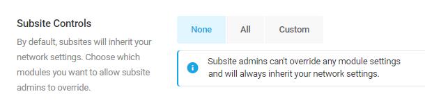 none subsite controls