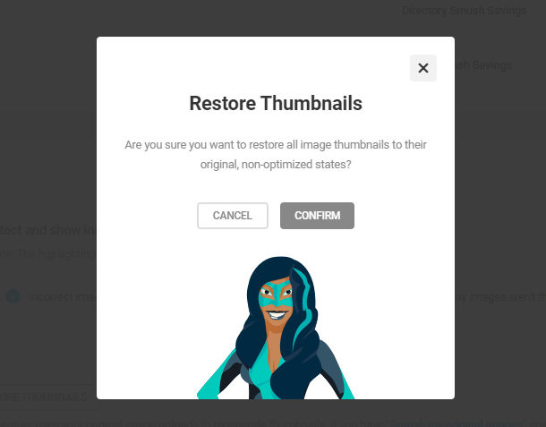 restore thumbnails confirmation