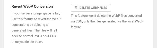 revert webP conversion