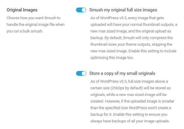 Options for compressing original images in Smush Pro