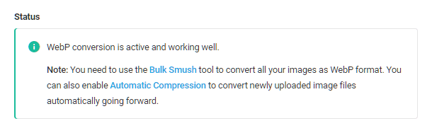 Webp status message in Smush