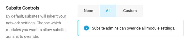 Select All to to give subsite administrators the ability to override all Smush module settings.