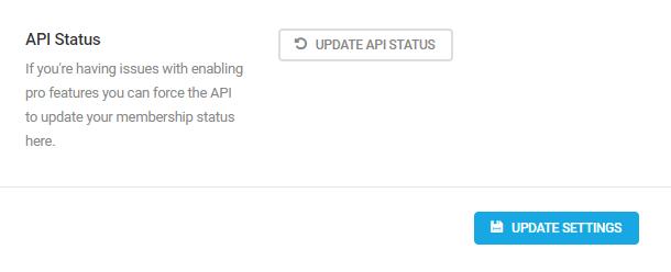 update API status