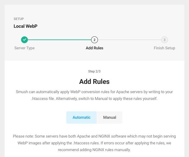 webP Wizard – Step 2 (apache)