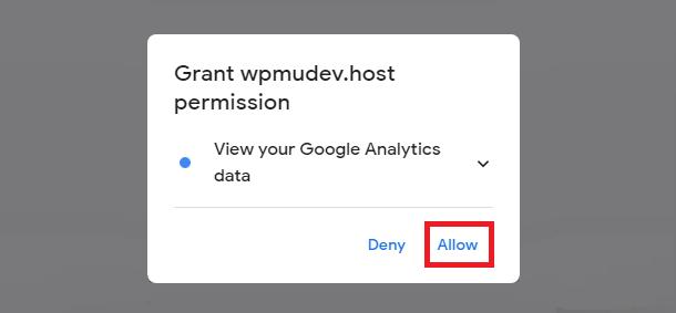 Beehive Grant Google Analytics permission screen