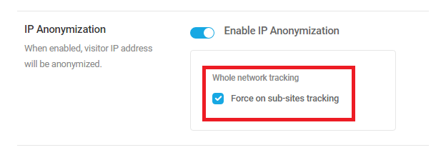 IP anonymization settings