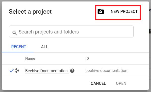 Beehive Create Google Analytics API Project