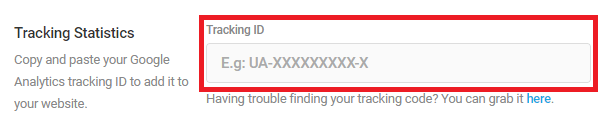 Beehive Settings add Tracking ID only