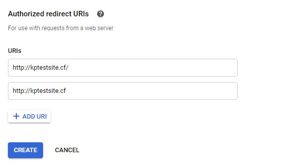 authorized redirect URIs
