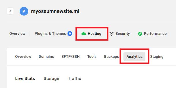 Hosting analytics tab in Hub